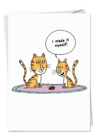 Hysterical Birthday Mother Printed Greeting Card by Scott Nickel from NobleWorksCards.com - Cat Barf