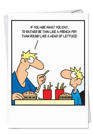 French Fry Logic: Funny Birthday Father Printed Greeting Card