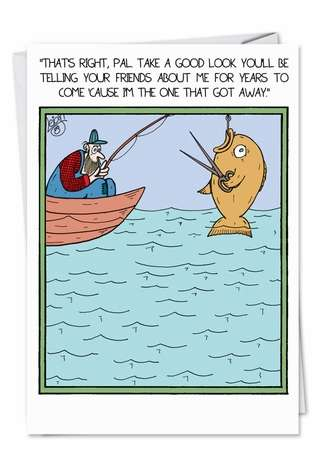 Humorous Birthday Father Greeting Card by Leigh Rubin from NobleWorksCards.com - Fish with Scissors