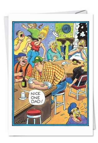 Funny Birthday Father Paper Greeting Card by Daniel Collins from NobleWorksCards.com - Farting Redneck