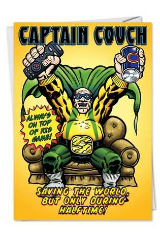 Hysterical Birthday Father Greeting Card by Daniel Collins from NobleWorksCards.com - Beer and Remote Hero