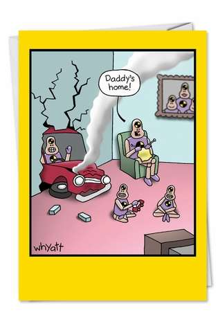 Humorous Birthday Father Printed Greeting Card by Tim Whyatt from NobleWorksCards.com - Crash Test Dummies at Home