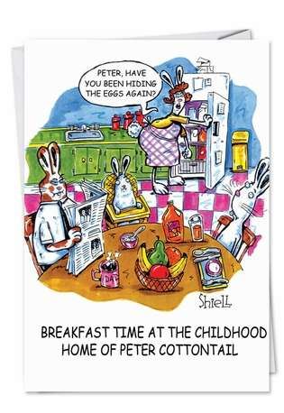 Funny Easter Greeting Card by Mike Shiell from NobleWorksCards.com - Hiding Eggs Again