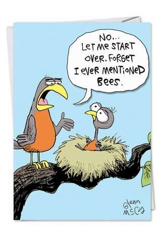 Hilarious Father's Day Printed Card by Glenn McCoy from NobleWorksCards.com - Mentioned Bees
