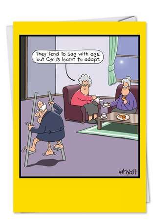 Humorous Retirement Paper Greeting Card by Tim Whyatt from NobleWorksCards.com - Stilts