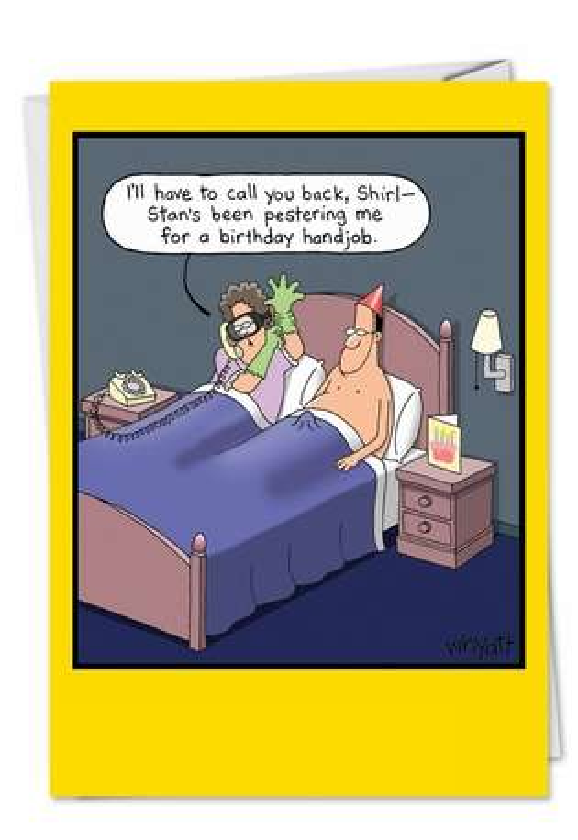 Humorous Blank Printed Card by Tim Whyatt from NobleWorksCards.com - Hand job