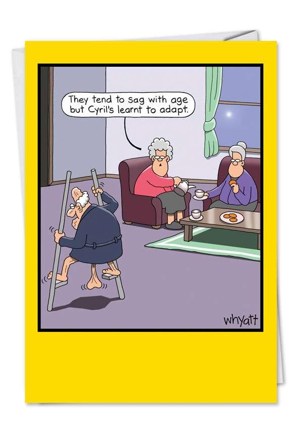 Funny Birthday Paper Greeting Card by Tim Whyatt from NobleWorksCards.com - Stilts
