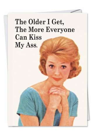Humorous Blank Paper Card by Ephemera from NobleWorksCards.com - Everyone Kiss My Ass