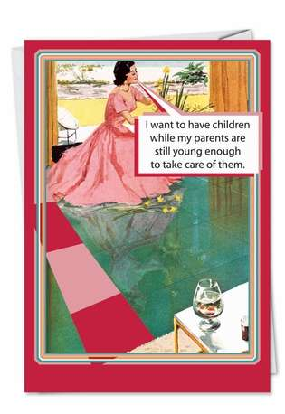 Retro Mom Thoughts: Hilarious Birthday Mother Printed Card