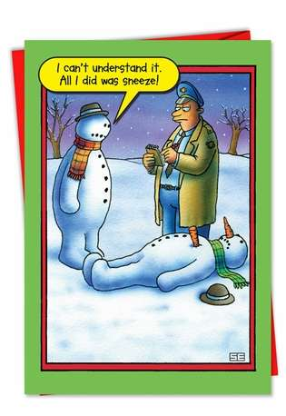 Funny Christmas Paper Greeting Card by Stan Eales from NobleWorksCards.com - Snowman Sneeze