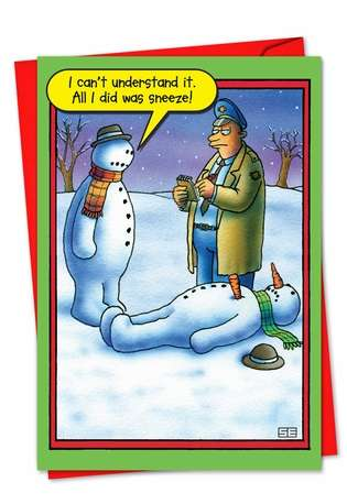 Hysterical Blank Printed Card by Stan Eales from NobleWorksCards.com - Snowman Sneeze