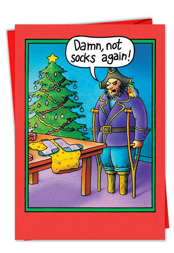 Funny Christmas Printed Card by Stan Eales from NobleWorksCards.com - Peg Leg Socks