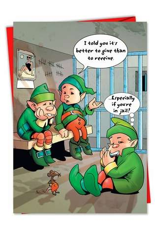 Hilarious Christmas Printed Card from NobleWorksCards.com - Jail Elves