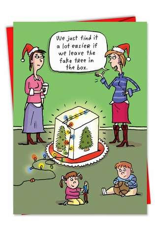 Hysterical Christmas Paper Greeting Card by Stanley Makowski from NobleWorksCards.com - Fake Tree in Box
