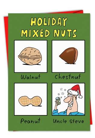 Humorous Christmas Paper Card by Stanley Makowski from NobleWorksCards.com - Mixed Nuts