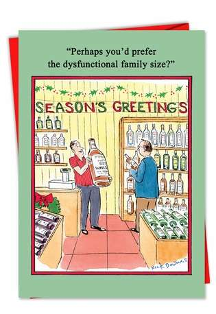 Hilarious Christmas Printed Card by Nicholas Downes from NobleWorksCards.com - Dysfunctional Family