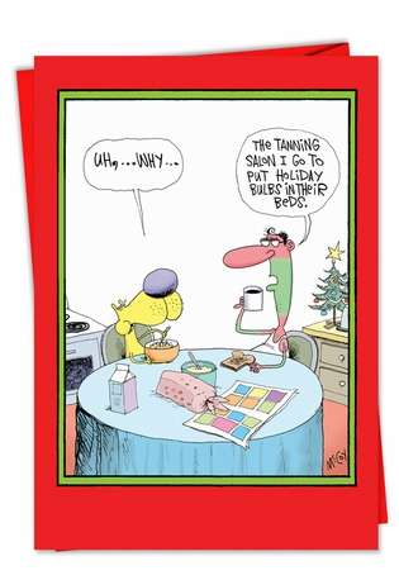 Holiday Tan Funny Christmas Card - Nobleworkscards.Com