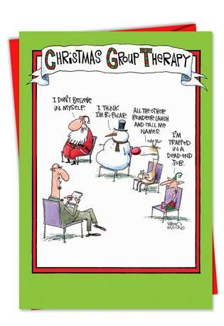 Humorous Christmas Printed Greeting Card by Glenn McCoy from NobleWorksCards.com - Group Therapy