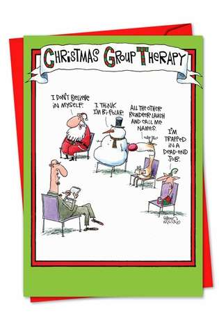 Hilarious Blank Paper Greeting Card by Glenn McCoy from NobleWorksCards.com - Group Therapy