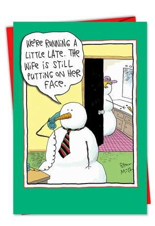 Hilarious Christmas Printed Greeting Card by Glenn McCoy from NobleWorksCards.com - Face On