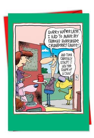 Humorous Christmas Paper Card by Glenn McCoy from NobleWorksCards.com - Shape of A Can