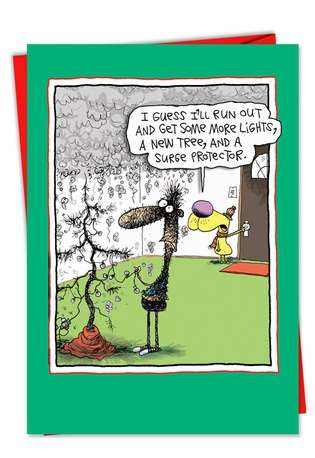 Hysterical Christmas Greeting Card by Glenn McCoy from NobleWorksCards.com - Surge Protector