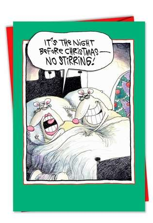 Funny Christmas Printed Card by Glenn McCoy from NobleWorksCards.com - No Stirring