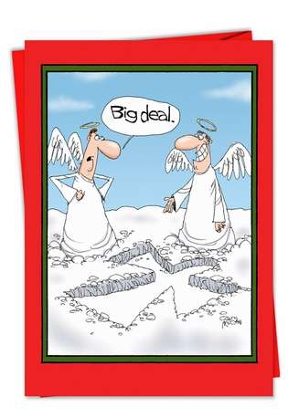 Humorous Christmas Paper Greeting Card by Gary McCoy from NobleWorksCards.com - Snow Angel