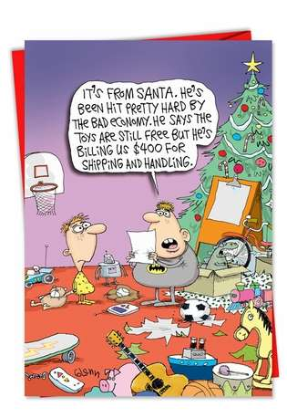 Hysterical Christmas Printed Card by Glenn McCoy from NobleWorksCards.com - Santa Shipping Costs