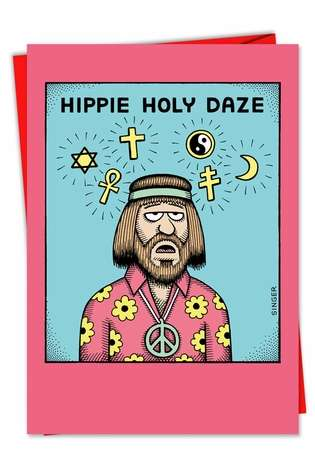 Hilarious Christmas Printed Card by Andy Singer from NobleWorksCards.com - Hippie Holy Daze