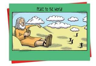 Humorous Christmas Paper Greeting Card by Andy Singer from NobleWorksCards.com - Peace to the World