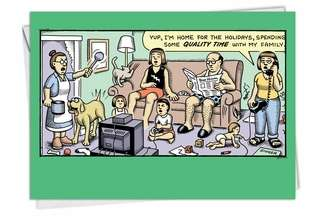 Funny Christmas Paper Card by Andy Singer from NobleWorksCards.com - Quality Time