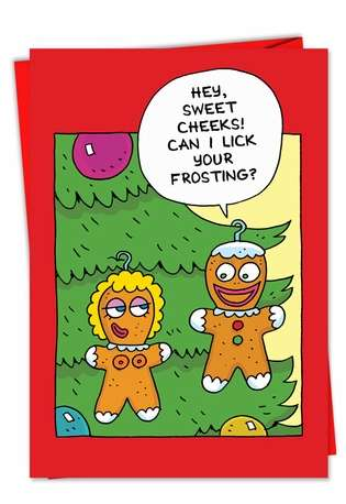Hilarious Christmas Greeting Card by Scott Nickel from NobleWorksCards.com - Sweet Cheeks