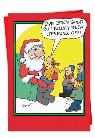 Hysterical Christmas Paper Card by Joseph Kohl from NobleWorksCards.com - Jerking Off