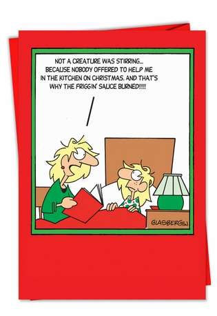 Kitchen Help Story: Funny Christmas Paper Card