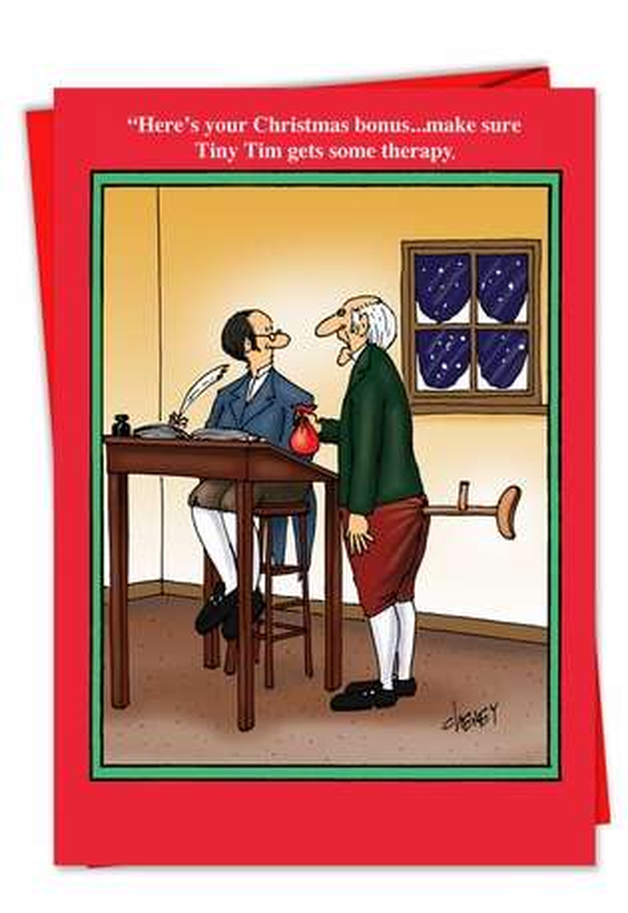 Tiny Tim Therapy Bonus Hilarious Pic Christmas Paper Card Nobleworks
