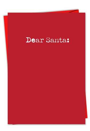 Humorous Christmas Paper Greeting Card from NobleWorksCards.com - Too Late