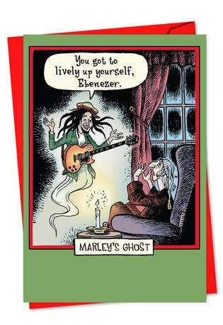Hilarious Christmas Greeting Card by Dan Piraro from NobleWorksCards.com - Marleys Ghost