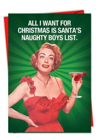 Hysterical Christmas Paper Greeting Card from NobleWorksCards.com - Naughty Boy List