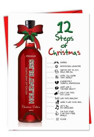 Humorous Christmas Paper Greeting Card from NobleWorksCards.com - 12 Steps of Christmas