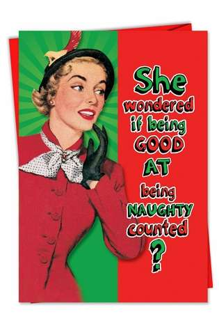 Funny Christmas Paper Card from NobleWorksCards.com - Being Good Counts