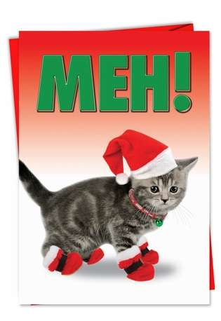 Funny Christmas Printed Greeting Card from NobleWorksCards.com - Meh