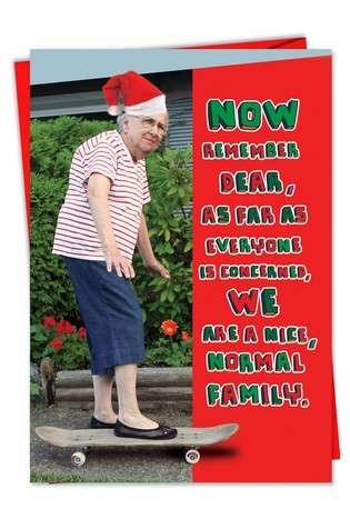 Hilarious Christmas Paper Greeting Card from NobleWorksCards.com - Normal Family