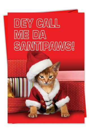 Hilarious Christmas Printed Card from NobleWorksCards.com - Santipaws