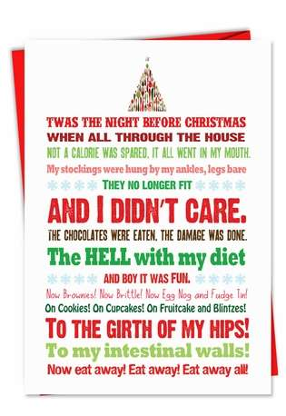 Funny Christmas Printed Greeting Card from NobleWorksCards.com - Twas the Bite Before Christmas