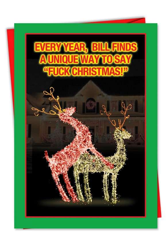 Humorous Christmas Printed Card from NobleWorksCards.com - Fucking Reindeer