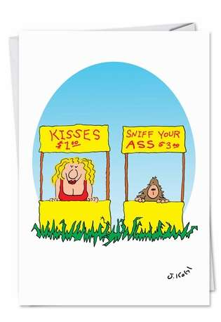Humorous Birthday Printed Greeting Card by Joseph Kohl from NobleWorksCards.com - Kissing Booth