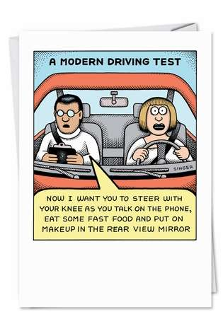 Humorous Birthday Printed Card by Andy Singer from NobleWorksCards.com - Modern Driving Test