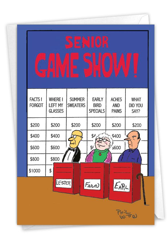 Humorous Birthday Paper Card by Phil Witte from NobleWorksCards.com - Senior Jeopardy