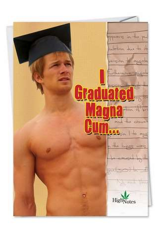 Hilarious Graduation Paper Card from NobleWorksCards.com - Magna Cum Loudly